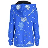 Clearance Ugly Christmas Sweater Sweatshirt, Forthery Women 3D Snowflake Print Hooded Sweatshirt(Blue, Large)