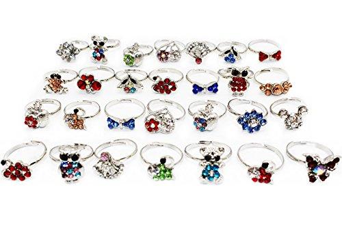 Yaobabymu 20PCS Children Kids Girls Rings Mixed Cartoon Animals Crystal Adjustable Cute Party Rings (Rhinestone Crown Adjustable Ring)