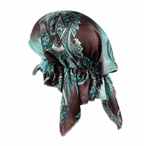 Qhome Womens Pre Tied Fitted silk satin Bandana Chemo Head Scarf for hair loss patients Womens Head Cover Pirates Turban (Womens Pirate Hair)