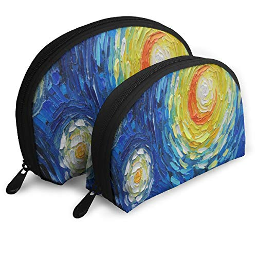 Makeup Bag Oil Painting With Motives Of Vincent Van Gogh Starry Night Portable Shell Clutch Pouch For Girls Halloween Gift 2 Pack