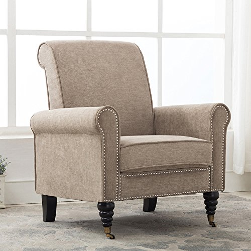 Haobo Elegant Refined Club Chair with Nailheads Trim for Living Room Sofa Chair, Khaki Gray by Haobo Home