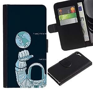 NEECELL GIFT forCITY // Billetera de cuero Caso Cubierta de protección Carcasa / Leather Wallet Case for Apple Iphone 5 / 5S // Astronauta Espacio