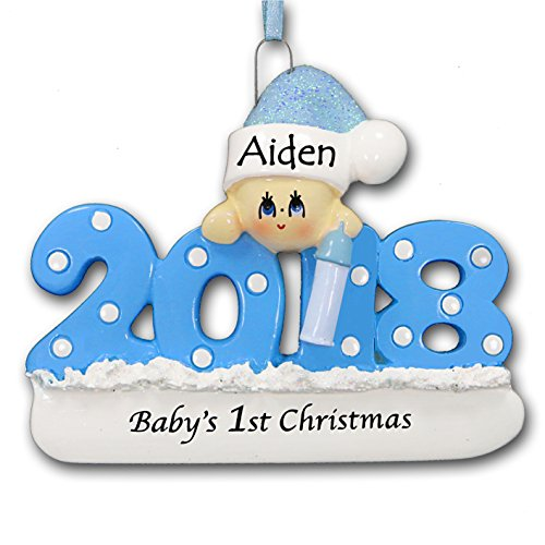 Personalized 2018 Baby's First Christmas Tree Ornament 1st Keepsake in Blue for Baby Boy with Santa Stocking Cap Hat and Bottle - New Mom Baby Shower - Free Name Customization (Blue)