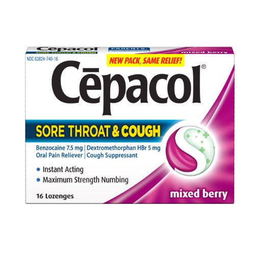 Cepacol Sore Throat & Cough, Maximum Strength Numbing, Instant Action, 16  Lozenges,  (Pack of 3)