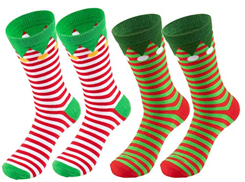 Christmas Socks - 2-Pair Holiday Santa Elf Striped Crew Socks, For Unisex Adults ()
