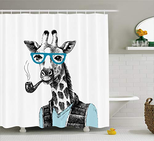 Lunarable Giraffe Shower Curtain, Hand Drawn Animal Illustration Hipster Influences Glasses T-Shirt and Coat, Fabric Bathroom Decor Set with Hooks, 70 Inches, Black White Blue