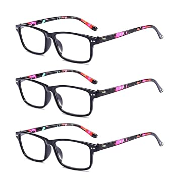 AMILLET 3 Pack Spring Hinges Reading Glasses Rectangle Lightweight Comfortable Readers for Men and Women 2.00