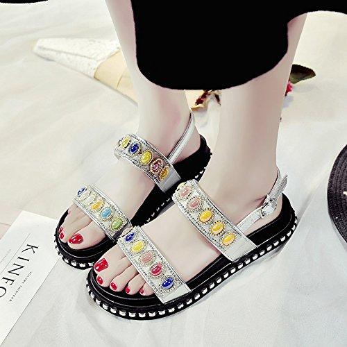 RUGAI-UE Las mujeres sandalias de verano Chunky Soles Silvery