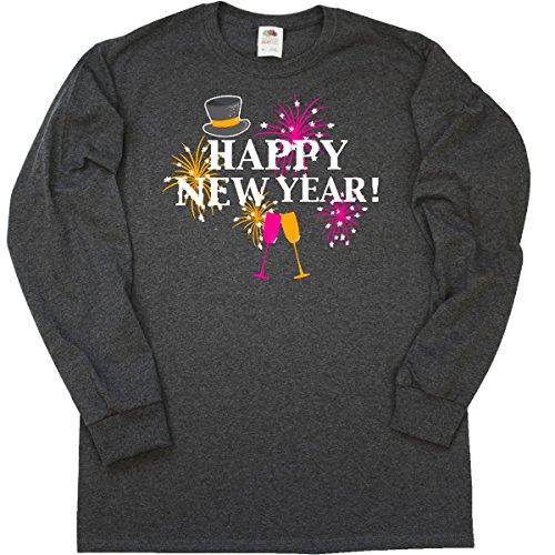inktastic Happy New Long Sleeve T-Shirt XXX-Large Retro Heather Black 2da36