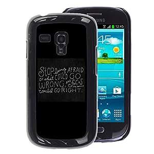 A-type Arte & diseño plástico duro Fundas Cover Cubre Hard Case Cover para Samsung Galaxy S3 MINI 8190 (NOT S3) (Blackboard Black Motivational Inspiring Quote)