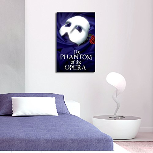 LaModaHome Musical Canvas Wall Art - The Phantom of The Opera, Mask and Red Rose, Navy Blue - Wooden Thick Frame Painting, Size (17.5
