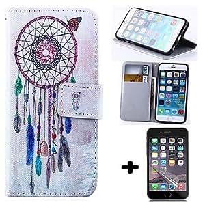 YULIN billetera carillón de viento de estilo pu cuero cubierta del cuerpo completo con protector de pantalla para el iphone 6