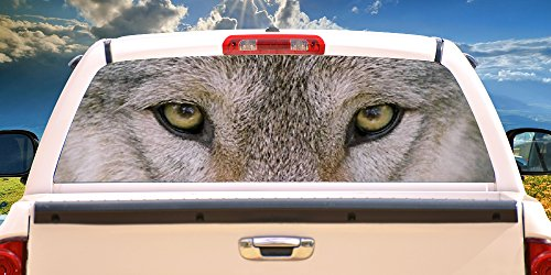 Wolf Window Graphics - SignMission Wolf Eyes Rear Window Graphic p/u Truck Film View Thru Vinyl