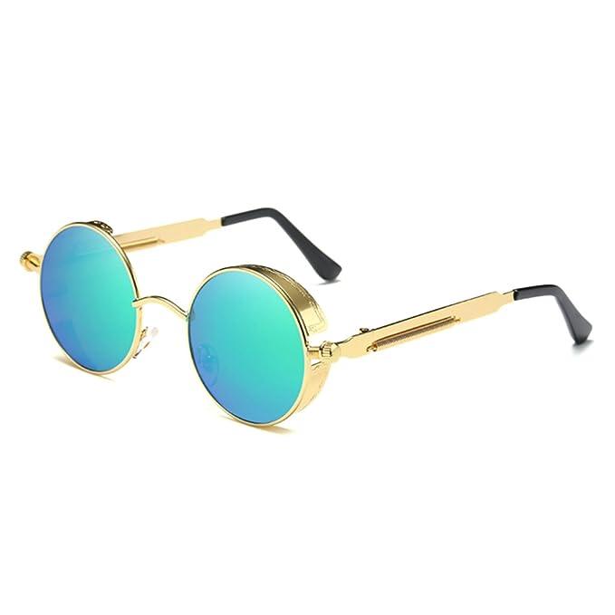 BAINASIQI Unisex Gafas de Sol Steampunk Polarizadas vintage Diseño de la marca Gafas de sol Round