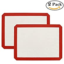 """IAITE Nonstick Silicone Baking Mat - Set of 2 Half Sheet (Thick & Large 11 5/8"""" x 16 1/2"""") - Non Stick - Heat Resistant - Healthy Cooking - Food Safe - Oven Tray Liners - Cookie Sheets - Reusable - Cook for Macaron/Pastry/Cookie/Bun/Bread (White, 16.5x11.6)"""