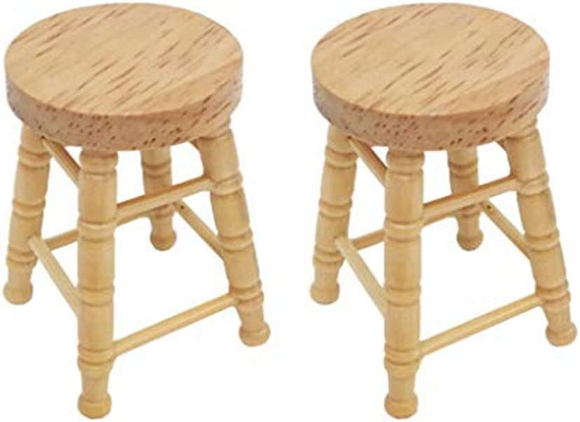 SXFSE Dollhouse Decoration Accessories, 2pcs 1/12 Mini Dollhouse Furniture Miniature High Stool Wooden Living Room Toy