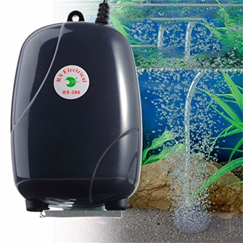 Aquarium 48GPH 220V Two Outlets Adjustable Air Pump & Check Valves 120 - Outlet Bass Mall