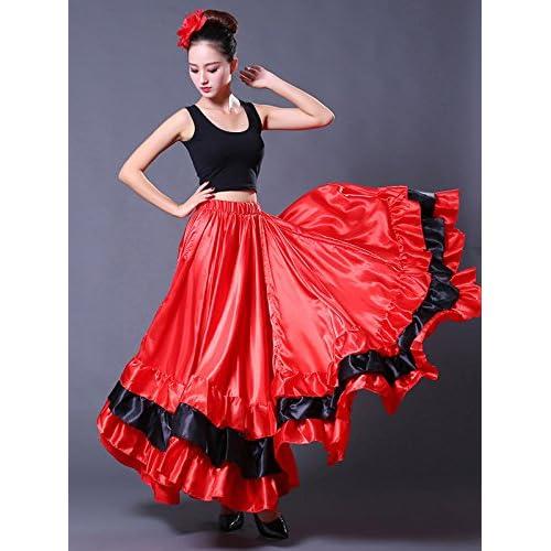 De alta calidad Backgarden Mujeres Adultas Spanish Bull Flamenco Gypsy Danza  del Vientre Falda Performance e58bf6051f6e