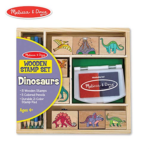 Melissa & Doug Wooden Stamp Set - Dinosaurs (Arts & Crafts, Sturdy Wooden Storage Box, Washable Ink, 14 Pieces)]()
