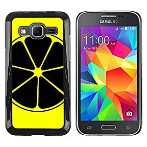 Be Good Phone Accessory // Dura Cáscara cubierta Protectora Caso Carcasa Funda de Protección para Samsung Galaxy Core Prime SM-G360 // Lemon Art Yellow Black Nuclear Symbol Fruit