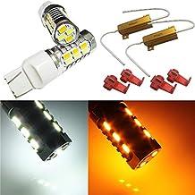 Autolizer 7441 7443 7444 Turn Signal White/Yellow Switchback LED Light Bulbs 22 SMD with 50W 6OHM LED Load Resistor - Not CK