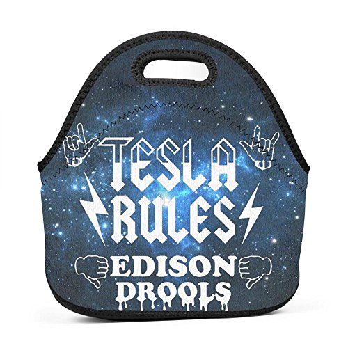 WWINL Tesla Rules Edison Drools Lunch Bag Insulated Reusable Neoprene Lunch Box Waterproof Tote Bento Bag With Zippe Handbag For Men, Women, Adults, Kids, Girls, Boys