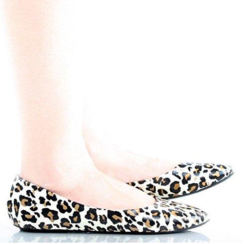 Nieuwe Dames Casual Slip Op Platte Schoenen Ronde Neus Balletschoenen Comfort Luipaard * Pu