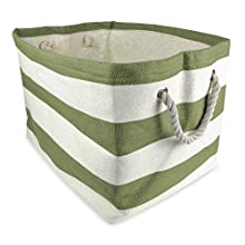 "DII Woven Paper Storage Basket or Bin, Collapsible & Convenient Home Organization Solution for Office, Bedroom, Closet, Toys, & Laundry (Large - 17x15x12""), Olive Green Rugby Stripe"