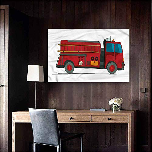 (Alexandear 3D Murals Stickers Wall Decals Fire Truck Emergency Rescue Car Girls Bathroom Size : W28 x H20 )
