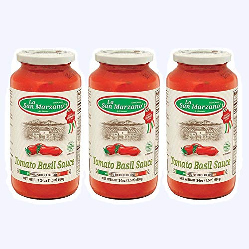 (La San Marzano Tomato and Basil Sauce 24 oz. (Pack of 3) - 100% Product of Italy)
