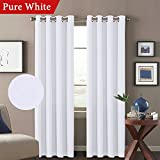 H.VERSAILTEX Solid White Curtains (Set of 2) Room Darkening Thick Textured Linen Window Panel Drapes for Living Room/Bedroom, Grommet Top, 52W x 84L Inch, Pure White Review