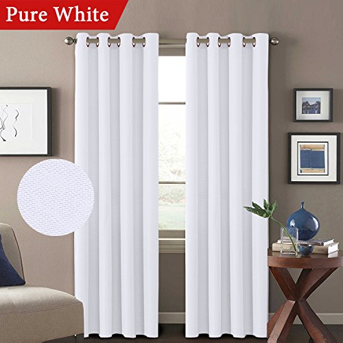 H.VERSAILTEX Solid White Curtains (Set of 2) Room Darkening Thick Textured Linen Window Panel Drapes for Living Room/Bedroom, Grommet Top, 52W x 84L Inch, Pure White