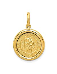 FB Jewels Solid 14K Yellow Gold Polished And Satin St Christopher Medal Pendant