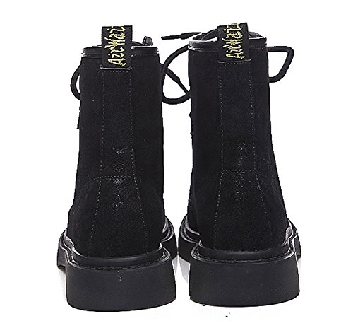 Low Ankle Toe Front Women Lace Martin QZUnique Boots Velvet Platform up Round Plus Velvet Boots Black Heel Plus tFwtqY
