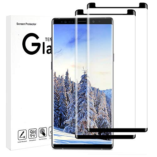 Vegkey Samsung Note 9 Screen Protector,Samsung Galaxy Note 9 Tempered Glass Screen Protector,2 Pack 3D Ultra Clear Full Coverage Tempered Film Screen Protector for Samsung Note 9(Black)