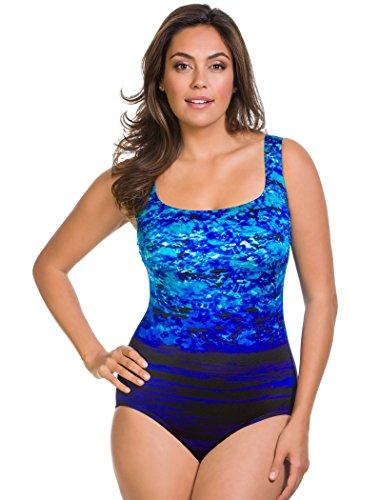 94ccf243b5615 Longitude Swimwear Plus Size Moonlight Double X Back Tank One Piece-Blue-24W