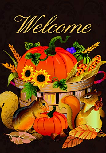 Lantern Hill Welcome Bountiful Autumn Harvest Garden Flag; Pumpkins, Sunflowers, and Squirrel; 12.5 x 18 inches; Double Sided Fall Seasonal Decorative Banner ()