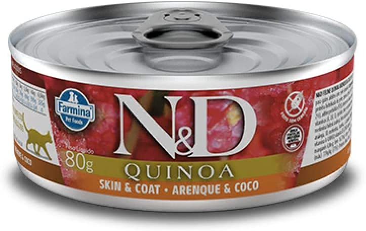 Farmina N&D Quinoa Skin and Coat Herring, Quinoa and Coconut for Cats, 2.8-Ounce cans, case of 12