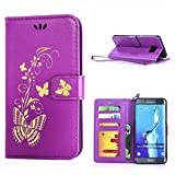 MOONCASE Galaxy S6 Edge+ Case, Bronzing Butterfly Pu Leather Wallet Pouch Etui Flip Kickstand Case Cover for Samsung Galaxy S6 Edge Plus Bookstyle Folio [Shock Absorbent] TPU Case with Photo Frame Purple