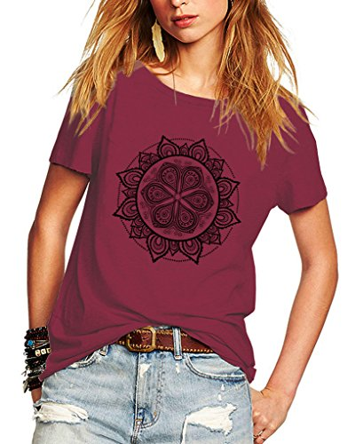 Romastory Womens Magical Pattern Shirts Short Sleeve T-Shirt Casual Summer Top Tee (M, Wine Red)