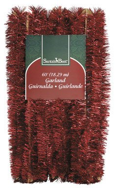 "SANTA'S BEST IMPORTS-YHC 4130-2950AC XMAS VELVET TINSEL GARLAND 2-1/4""x60'(PACK OF 12)"