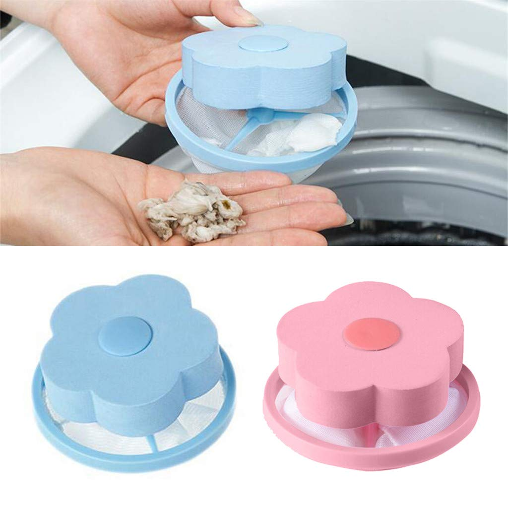 Fan-Ling Mesh Filtering Hair Removal Floating 2Pcs Filter Bag Washer Style Laundry Clean