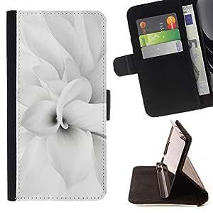 For LG G2 D800 Case , Floral blanca flor del pétalo minimalista Primavera- la tarjeta de Crédito Slots PU Funda de cuero Monedero caso cubierta de piel