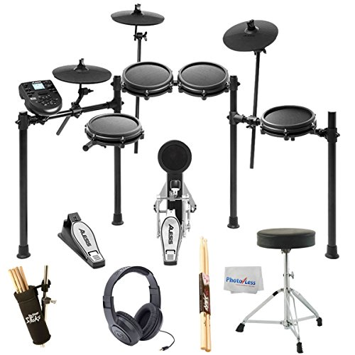 Alesis Nitro Mesh Electronic Drum Kit + Samson SR350 Studio Headphones + On Stage Drum Stick Holder DA100 + Braced Drum Throne + Maple Wood 5B Drumsticks - Photo4Less Clean Cloth- Top Accessory Bundle