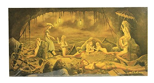 (Nautical Tropical Imports David Delamare Mermaids and The Castaway Full Color Print 20 by 10 Inches)