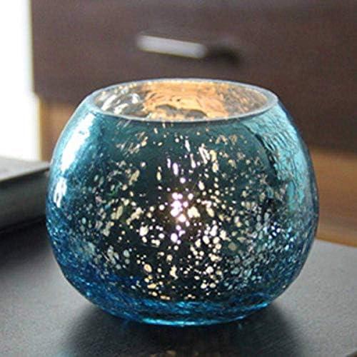 クリスマスキャンドルホルダーガラスキャンドルホルダークリスタルキャンドルスティックキャンドルランタンテーブル用ホームセンターピースホームデコレーション、ブルー