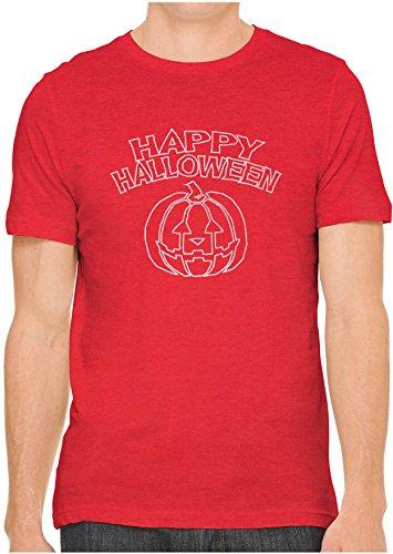 (Austin Ink Apparel Unisex Fine Jersey Happy Halloween Line Art Print T-Shirt (Red,)