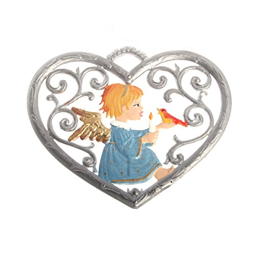 Wilhelm Schweizer Pewter Pendant, Heart with Angel 6 x 7 cm