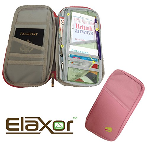 Elaxor™ Compact Waterproof Multi-Functional Zippered Passport, cards, cash and Travel Document Organizer Wallet Case (Pink)
