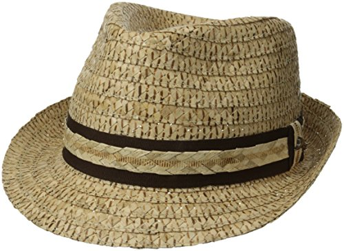 Raffia Fedora Hat (Tommy Bahama Men's Burned Raffia Fedora, Natural, Small/Medium)